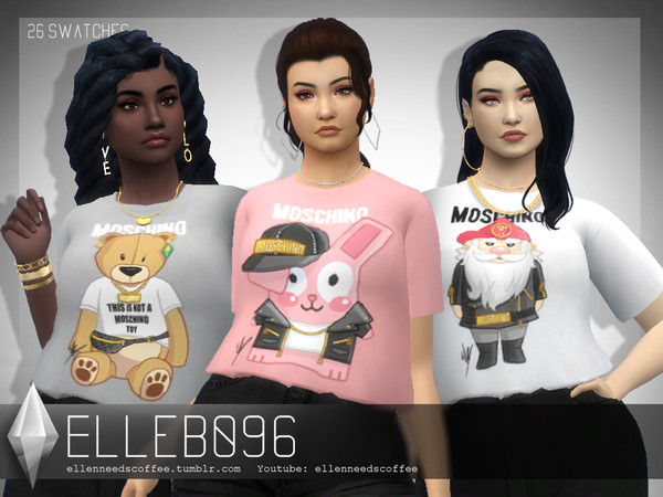 Sims 4 Moschino Crop Top by Elleb096 at TSR
