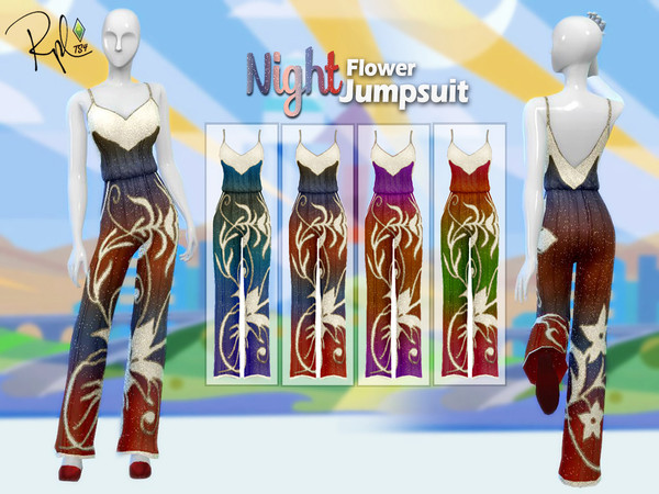 Sims 4 F Night Flower Jumpsuit by RobertaPLobo at TSR