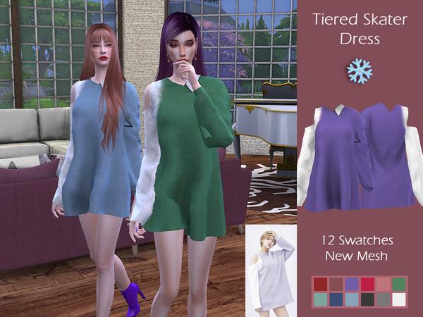Sims 4 LMCS Tiered Skater Dress by Lisaminicatsims at TSR