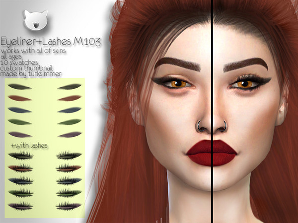 Sims 4 Eyeliner + Lashes M103 by turksimmer at TSR