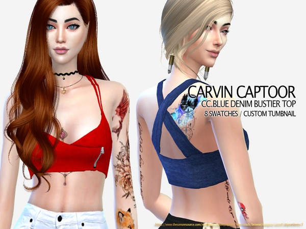 Blue denim bustier Top by carvin captoor at TSR image 1617 Sims 4 Updates