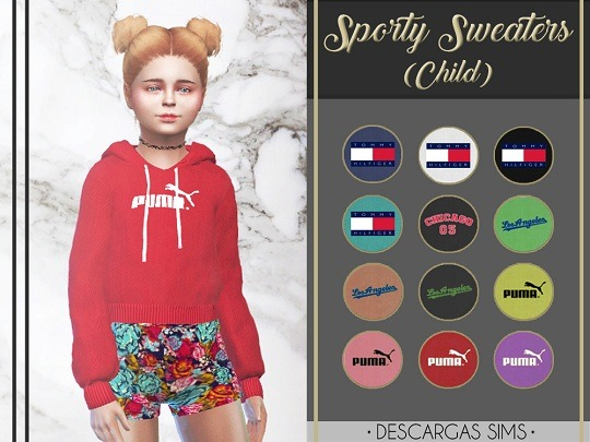 Sims 4 Sporty Sweaters for kids at Descargas Sims