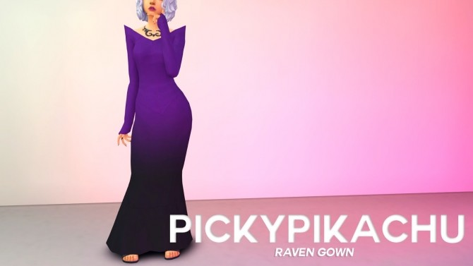 Sims 4 Raven Gown at Pickypikachu