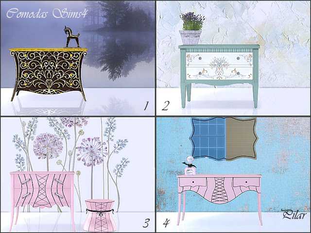 Sims 4 Dresser Sideboards by Pilar at SimControl