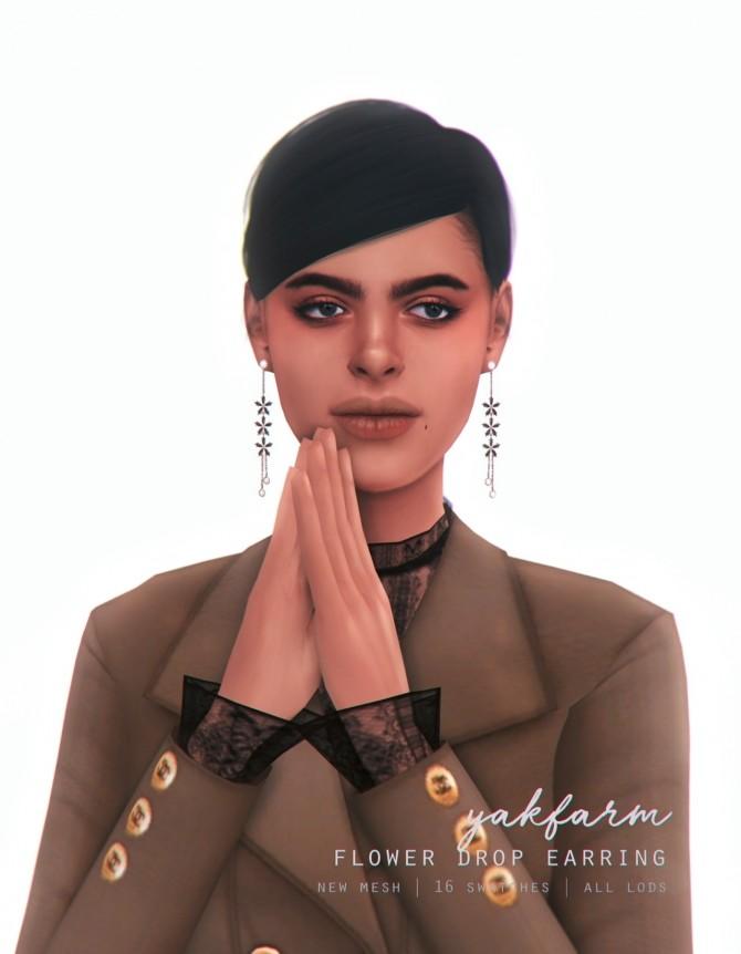 Sims 4 Flower Drop Earrings at Yakfarm