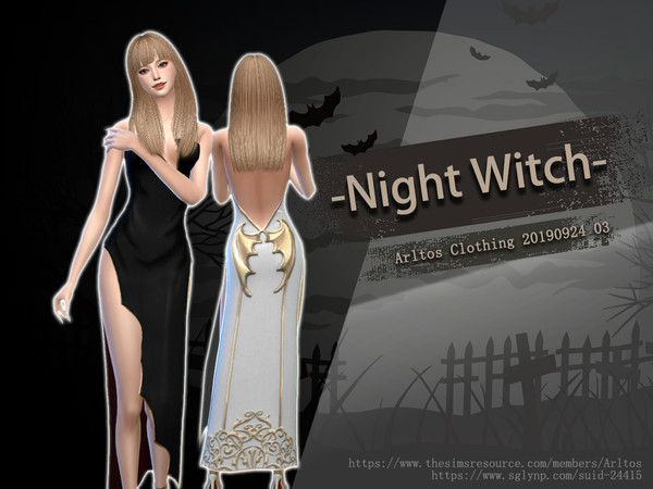 Sims 4 Night Witch dress by Arltos at TSR