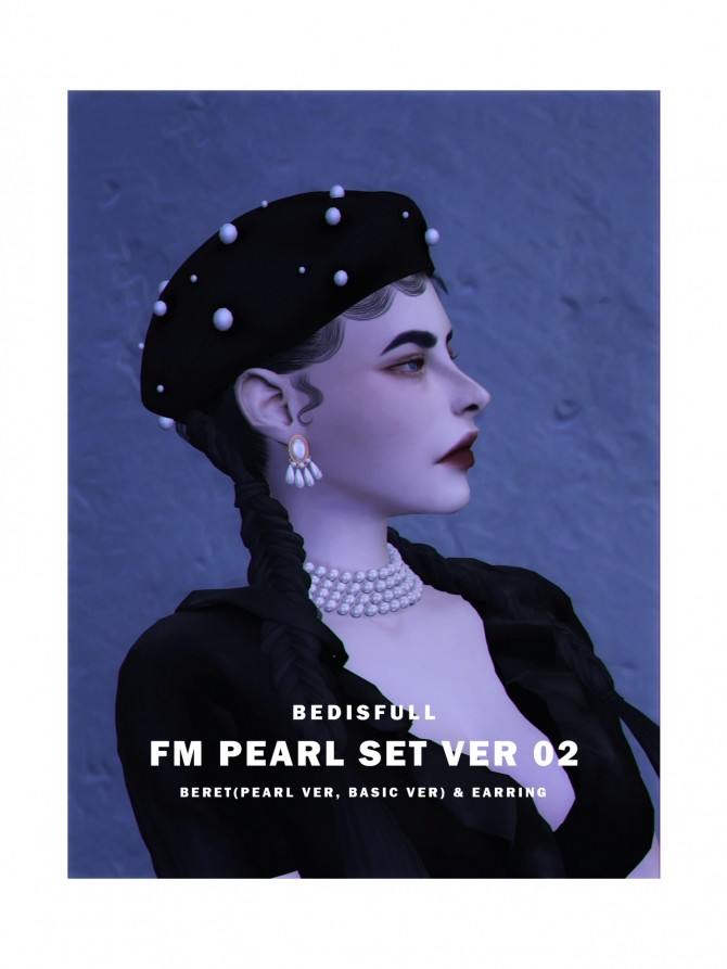 FM PEARL SET 02 BERET & EARRINGS at Bedisfull – iridescent image 1877 670x893 Sims 4 Updates