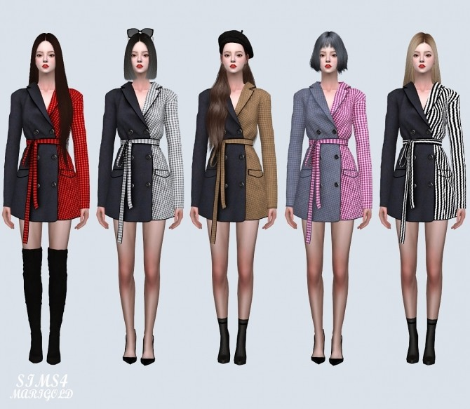 Sims 4 Autumn Coat Mini Dress 2 Pattern V (P) at Marigold