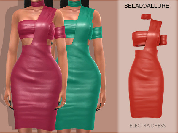 Sims 4 Belaloallure Electra dress by belal1997 at TSR