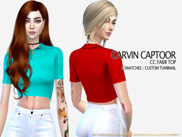 Sims 4 Yami Top by carvin captoor at TSR