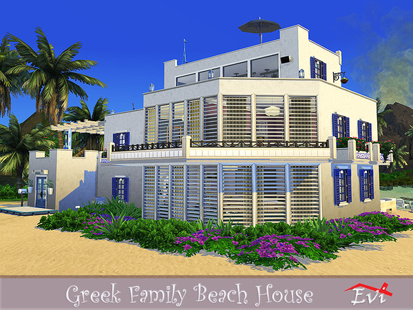 Sims 4 Greek Family Beach House by evi at TSR