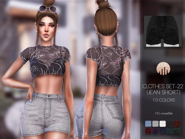 Sims 4 Clothes SET 22 Denim shorts BD96 by busra tr at TSR