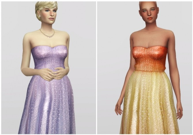 Sims 4 Crystal Embellished Tulle Gown at Rusty Nail