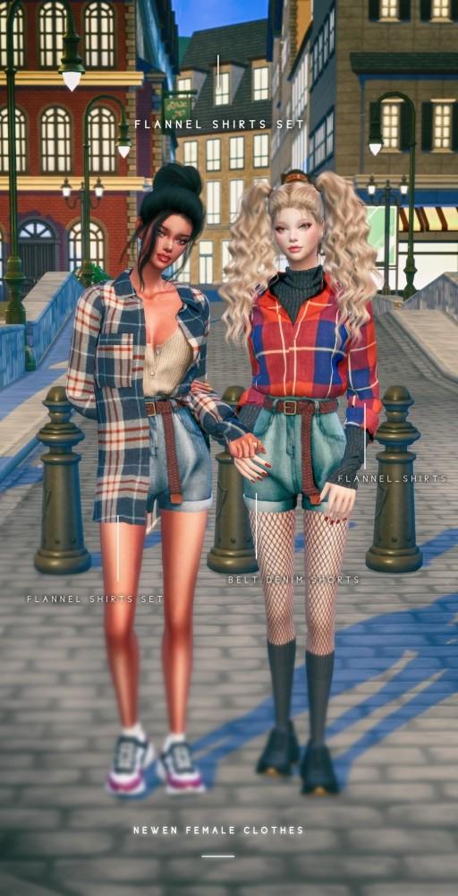 Flannel Shirts & Belt Denim Shorts at NEWEN image 2194 512x1000 Sims 4 Updates