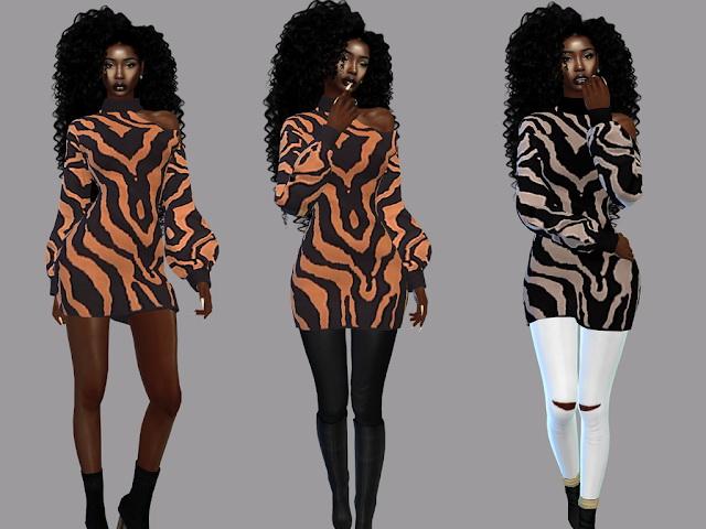 Sims 4 Printed Dress at Teenageeaglerunner