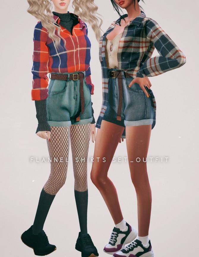 Flannel Shirts & Belt Denim Shorts at NEWEN image 2205 670x863 Sims 4 Updates