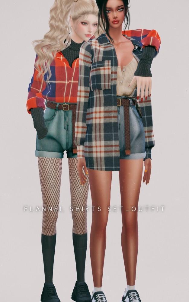 Flannel Shirts & Belt Denim Shorts at NEWEN image 22112 626x1000 Sims 4 Updates