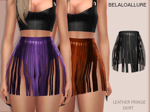 Sims 4 Belaloallure Leather fringe skirt by belal1997 at TSR