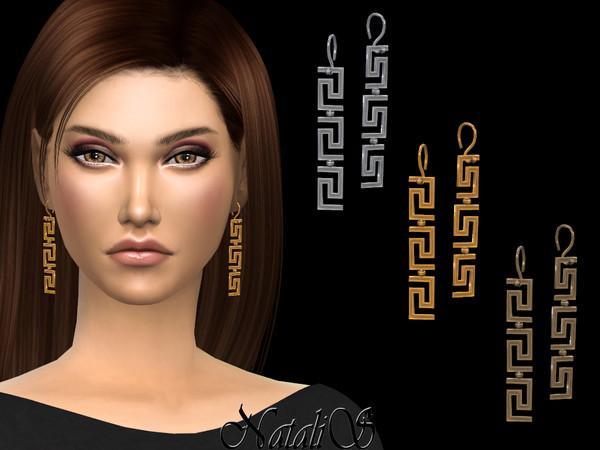 Sims 4 Greek motif drop earrings by NataliS at TSR