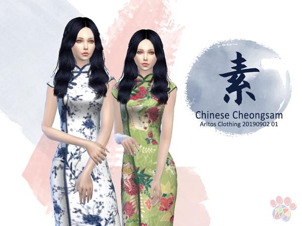 Sims 4 Su Chinese Cheongsam Clothing 20190902 01 by Arltos at TSR