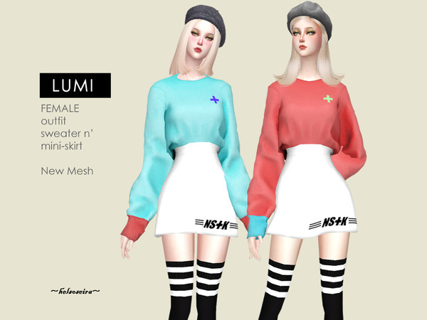 Sims 4 LUMI Sweater n Mini Skirt Outfit by Helsoseira at TSR