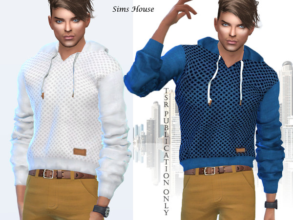 Sims 4 Mens sweatshirt with a hood by Sims House at TSR