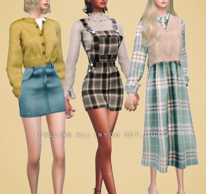 Sims 4 Plaid Overall Skirt, Cardigan, Denim Skirt & Shirt Dress Set at NEWEN