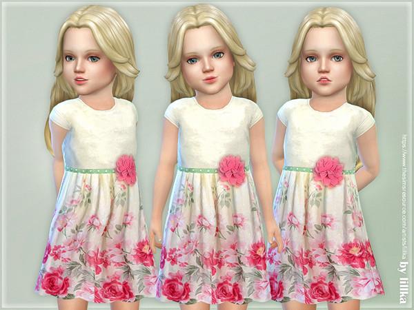 Sims 4 Floral Yoke Dress by lillka at TSR