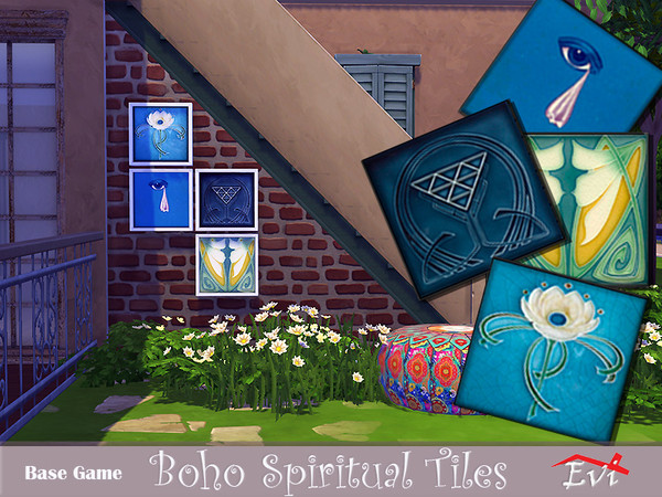 Sims 4 Boho Spiritual Tiles by evi at TSR
