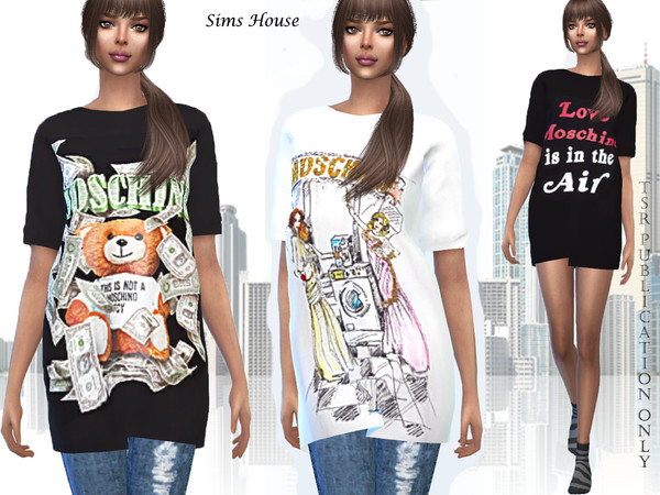 Womens T shirt MOSCHINO by Sims House at TSR image 289 Sims 4 Updates