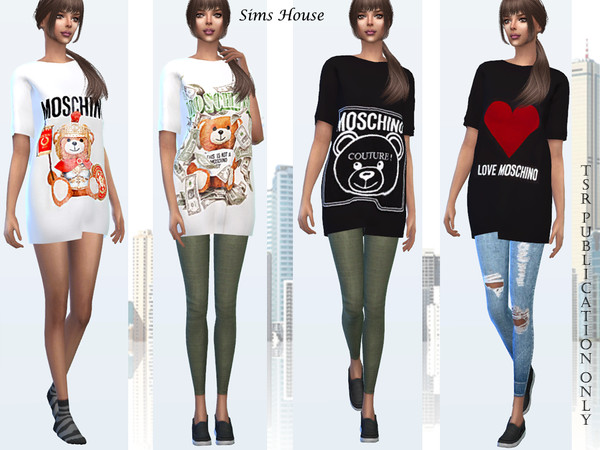 Womens T shirt MOSCHINO by Sims House at TSR image 290 Sims 4 Updates