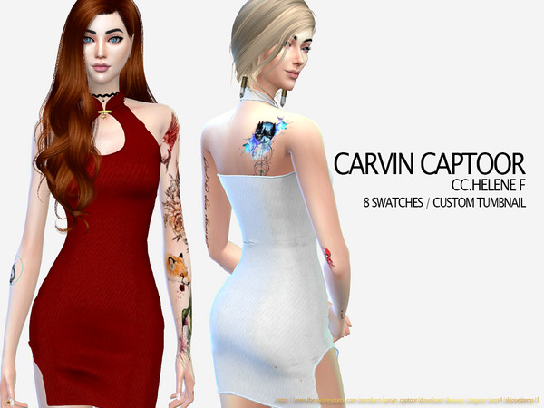 Sims 4 Helene F dress by carvin captoor at TSR