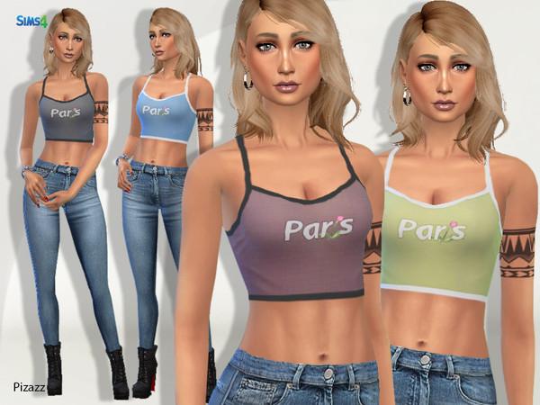 Sims 4 Paris Crop Top by pizazz at TSR