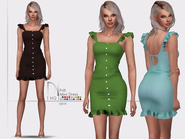 Sims 4 Frill Mini Dress by DarkNighTt at TSR