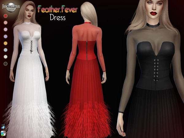 Feather fever dress by jomsims at TSR image 3314 Sims 4 Updates