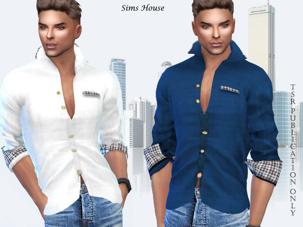 Sims 4 Mens shirt with colored inserts on the cuffs by Sims House at TSR