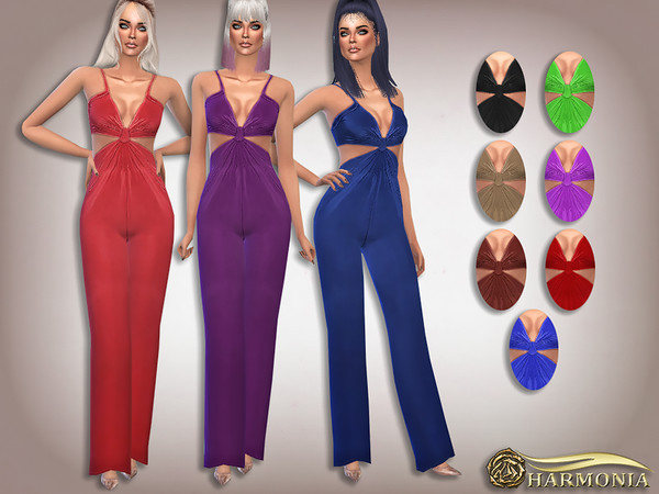 Slinky Knot Detail Flare Leg Jumpsuit by Harmonia at TSR image 3426 Sims 4 Updates