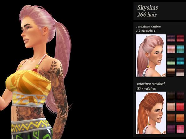 Sims 4 Skysims 266 hair retexture by Jenn Honeydew Hum at TSR