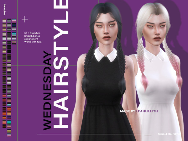 Wednesday Hair by Leah Lillith at TSR image 3918 Sims 4 Updates