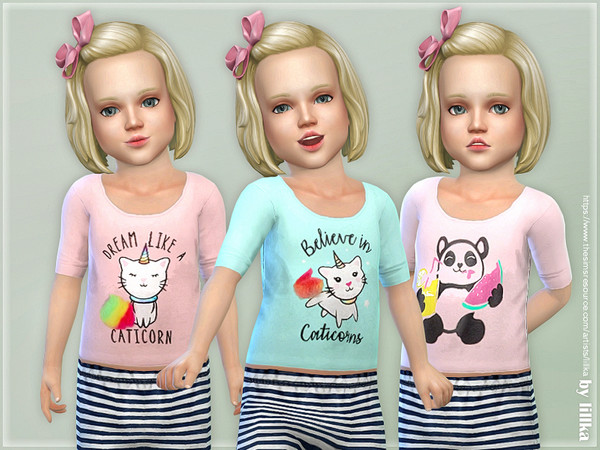 Sims 4 Comfy Shirt for Toddler Girls by lillka at TSR