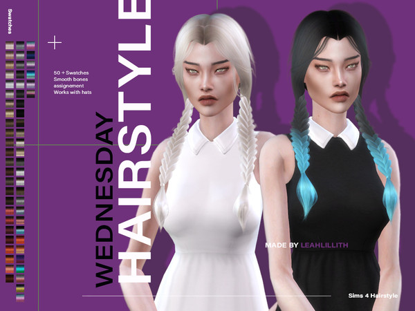 Sims 4 Wednesday Hair by Leah Lillith at TSR