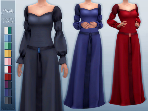 Sims 4 Odette Dress by Sifix at TSR