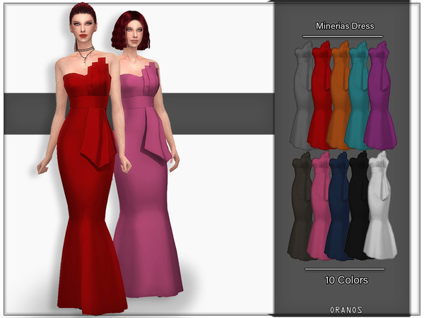 Sims 4 Minerias Dress by OranosTR at TSR