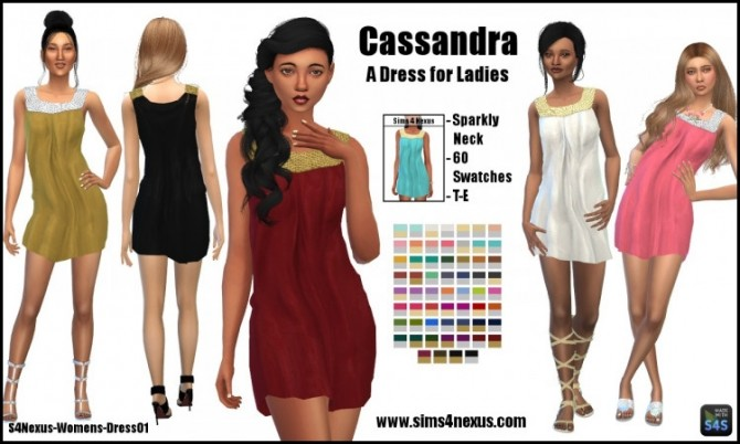 Sims 4 Cassandra dress by SamanthaGump at Sims 4 Nexus