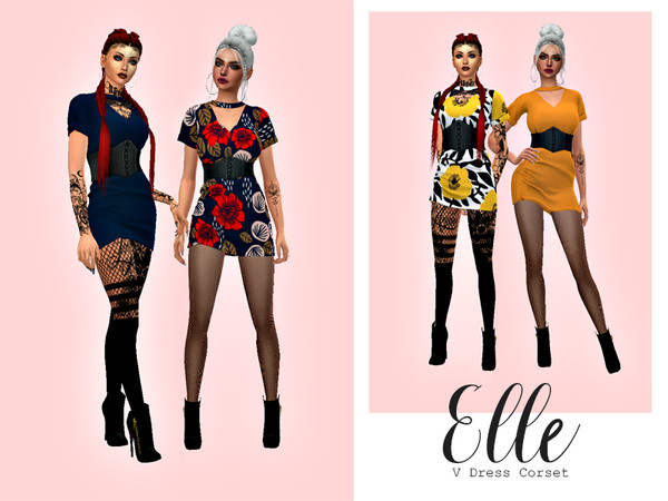 Sims 4 Elle V Tees Dress Corset by HazelsCloset at TSR