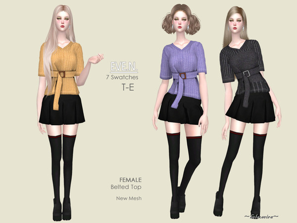 Sims 4 EVE.N. Belted Top by Helsoseira at TSR