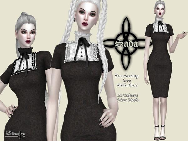 Sims 4 SADA Everlasting Love Midi Dress by Helsoseira at TSR