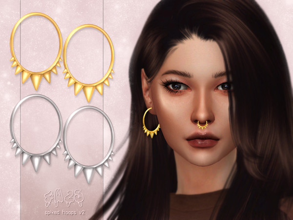 Sims 4 Spiked Hoops V2 by 4w25 cc at TSR