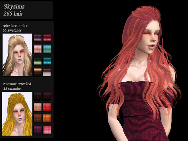 Sims 4 Skysims 265 hair retexture by Jenn Honeydew Hum at TSR