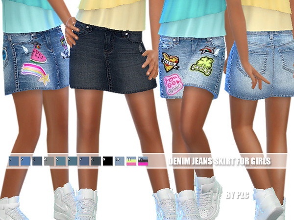 Sims 4 Denim Jeans Skirt For Girls by Pinkzombiecupcakes at TSR